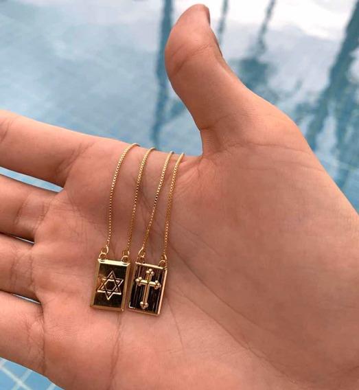 Escapulario Veneziana Estrela De Davi + Cruz Banhado A Ouro