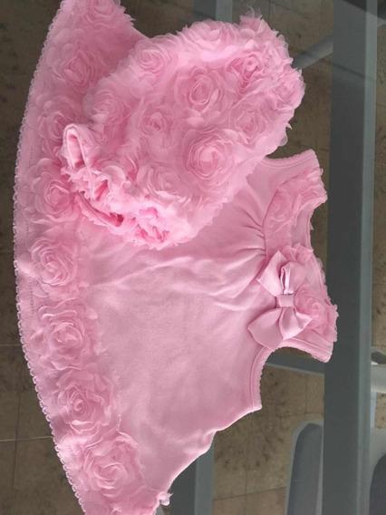 Conjunto De Beba. Rosas Y Tull Ideal Fotos. 3 Meses Regalo