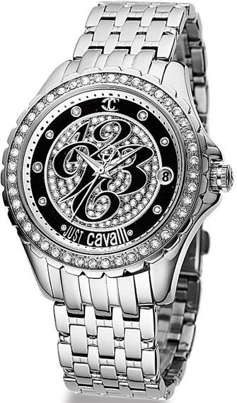 Relógio Feminino Original Just Cavalli Prata Preto Cristais