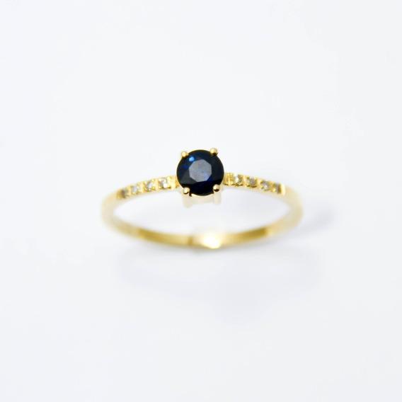 Anel Com Pedra Safira Azul Sintética Em Ouro