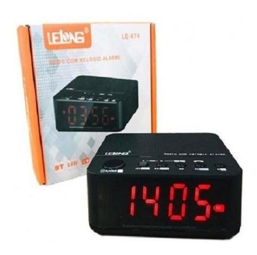 Rádio Relógio Bluetooth Digital Despertador Lelong Le-674 Fm