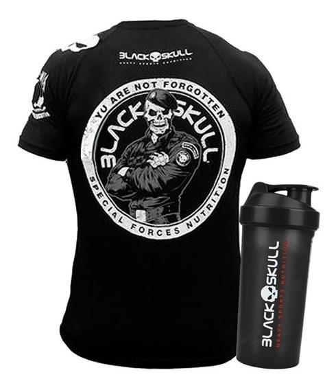 Kit Camiseta Dry Fit + Coqueteleira - Black Skull - Orginal