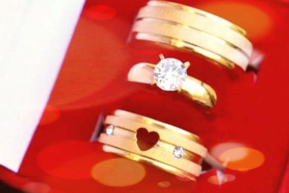 Alianças De Coração + Anel Solitário, Noivado E Casamento