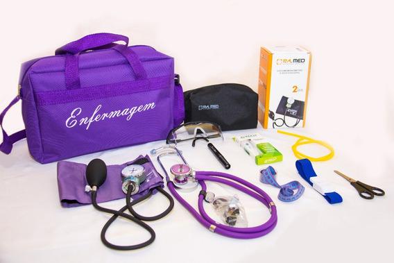Kit Roxo Com Aparelho De Pressão Para Enfermagem