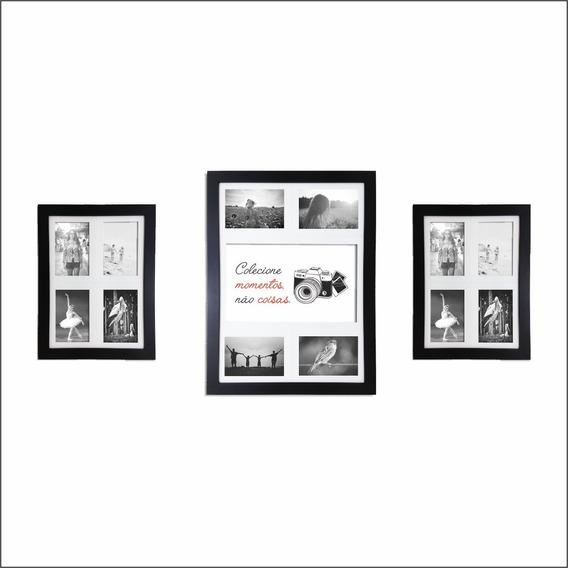 Kit 3 Quadros Painel 12 Fotos Colecione Momentos Qpl33.q3233