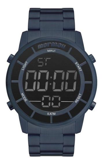 Relógio Mormaii Digital Azul Todo Em Aço Mobj3463dd/4a