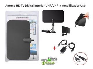 Antena Hd Tv Digital Interior Plana + Base, Amplificador Usb