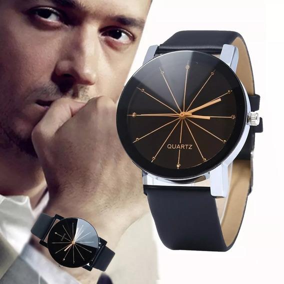 Relógio Masculino Quartz Pulseira De Couro Social Promoção