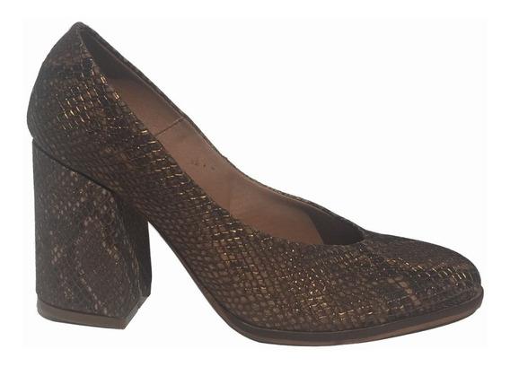 Zapato Stiletto Traza Cuero Taco Cuadrado Bendita Tu Eres