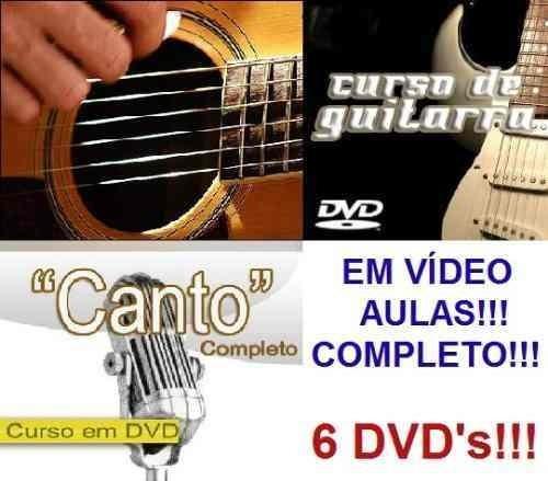 Aulas De Guitarra + Violão + Canto - Curso Em 6 Dvds S3q