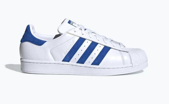 Zapatillas adidas Superstar Blancas - Azul De Hombre