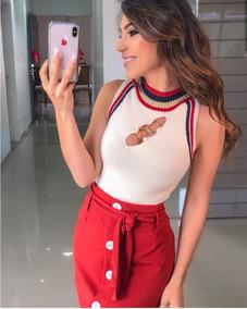 Body Maiô Feminino Em Tricô Modal Com Detalhe De Argolas