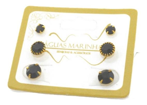 Kit 3 Em 1 Mini Brinco Infantil Pedras Preta Banho Ouro 18