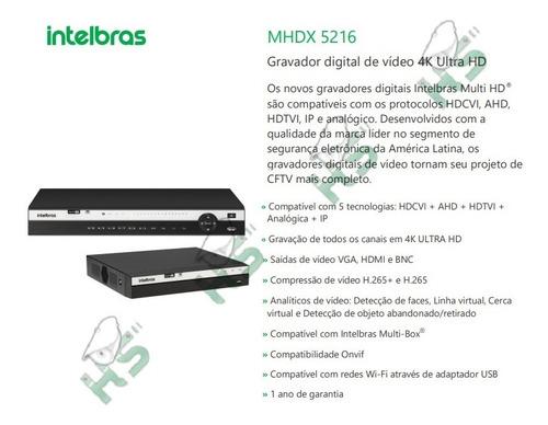 Gravador Dvr Nvr 16c Multi Hd Ultra 4k Mhdx5216 Intelbras