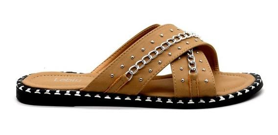Zapatos Sandalias Mujer Dama Bajas Urbanas Camel Leblu Z150