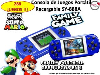 Consola De Juegos Portatil Recargable Sy-888a + 288 Juegos!!
