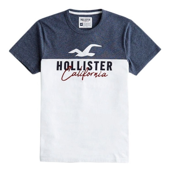 Tshirt Hollister Califórnia Bordado Logo E Aplique Orig. Usa