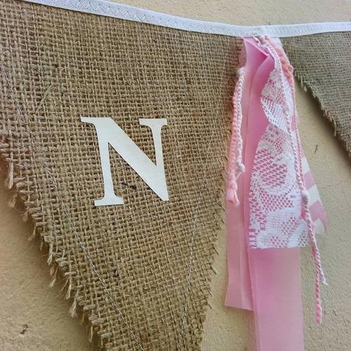 Banderines Arpillera  Nombre Personalizados Cumpleaños Letra