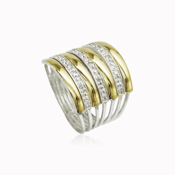 Anel Em Prata 950 Feminino Vazado 7 Elos 4 Filetes Ouro 12k