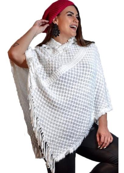 Blusa Feminino Poncho Ponxo Kimono Com Capuz Frio Lã