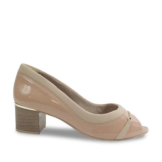 Peep Toe Comfortflex Salto Grosso Feminino 1892303