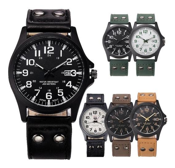 10 Relojes Militar Hombre Fecha Caballero Soki Lote Mayoreo