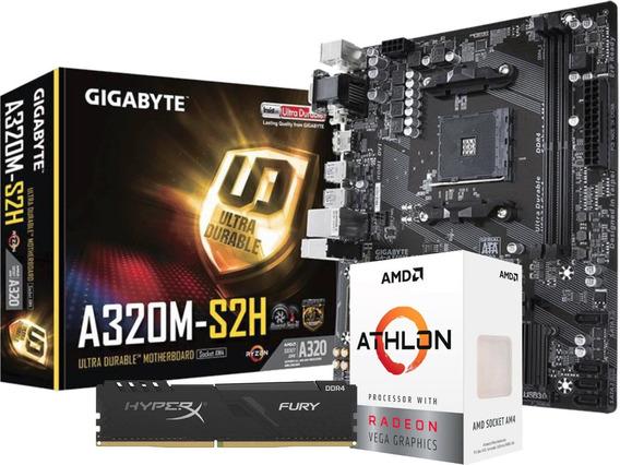 Kit Processador Amd Athlon 3000g A320m-s2h Fury 8gb 2666mhz