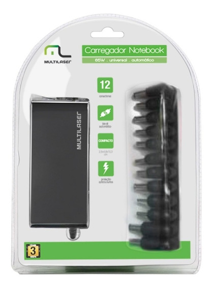 Carregador Fonte Universal Multilaser P/ Notebook 65w Cb082