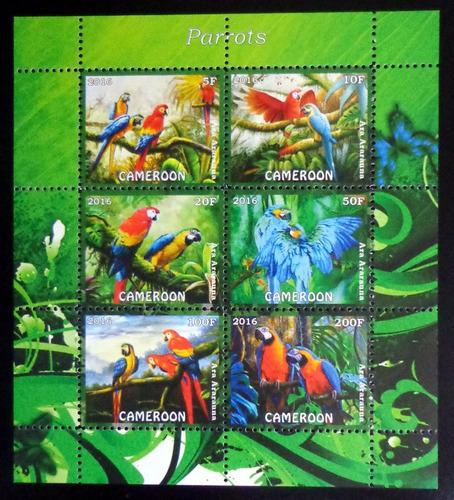 Camerún Aves, Bloque 6 Sellos Loros 2016 Mint L9890