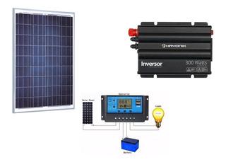 Kit Placa Solar 95w+ Inversor 300w 12v 127v + Controlador