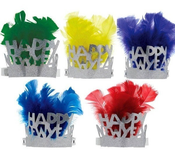 Tiara Diadema Fiesta Año Nuevo Glitter Plumas Colores New Ye