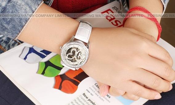 Relógio Feminino Luxo White Skeleton Wrl8009m3s2 Envio Gráts