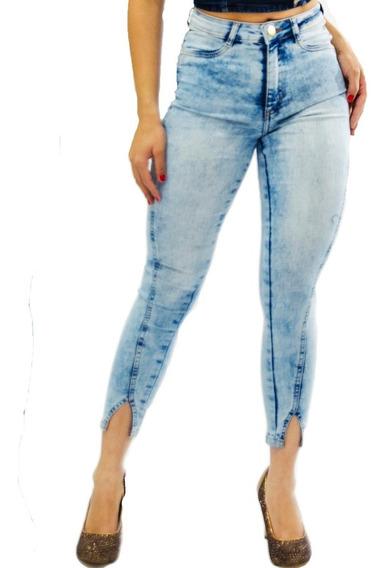 Kit 2 Calças Jeans Feminina Barra V Fenda Cintura Alta Luxo