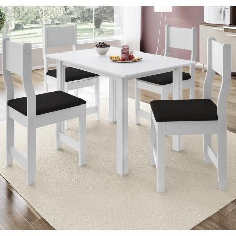 Conjunto Mesa De Jantar Com 4 Cadeiras Cor Branca