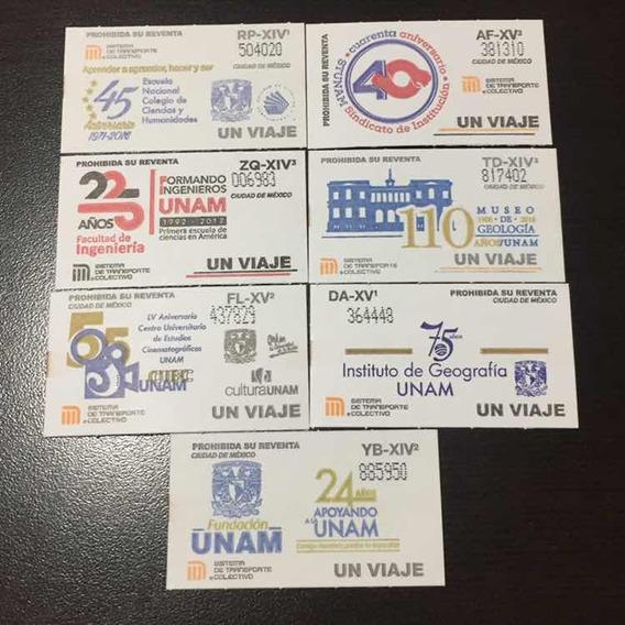 Set De 7 Boletos Del Metro Unam
