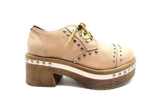 Zapato Acordonado Tachas Borcego Savage Plataforma Mujer