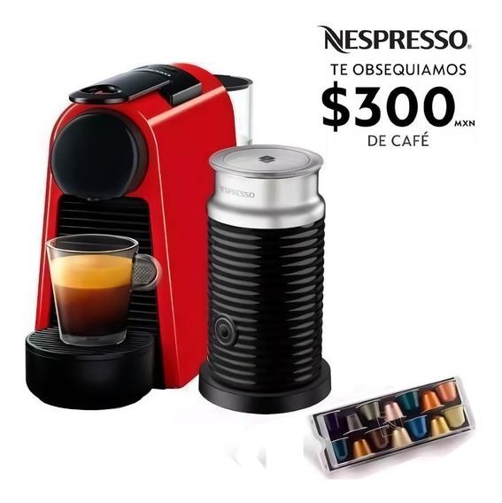 Cafetera Nespresso Essenza Mini Roja Capuchino Espumador Leche Eco Friendly