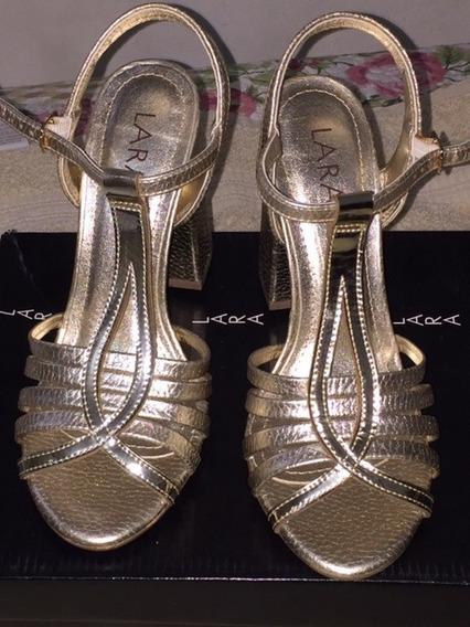 Sandália Salto Lara - Dourada