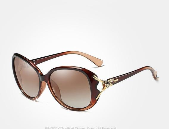 Óculos De Sol Feminino Leopardo Polarizado Uv400 Original Uva E Uvb