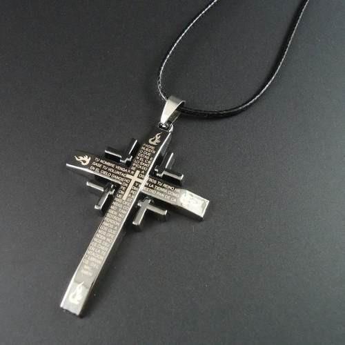 Kit 10 Colares Masculino Feminino Couro Cruz Crucifixo