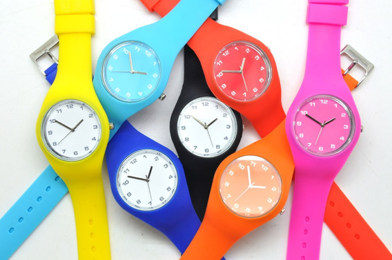 Reloj Casual Unisex Regalo Correa De Silicona Lisa Colores