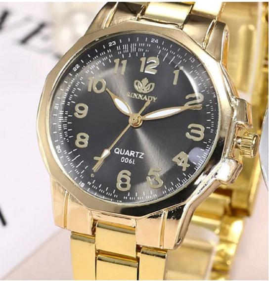 Relógio Feminino De Luxo Em Aço Inox Dourado - 006l Quartz