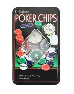 Set Poker 100 Fichas Caja Metal Poker Chips Juego De Mesa