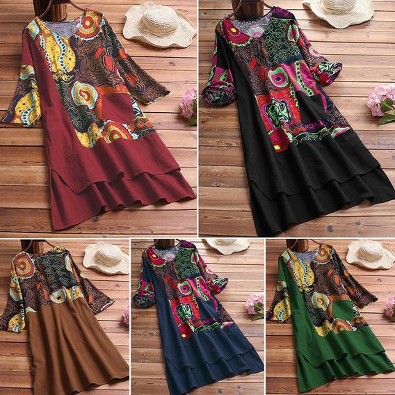 Nuevo Vestido De Algodón De Lino Para Mujer De Moda Talla G