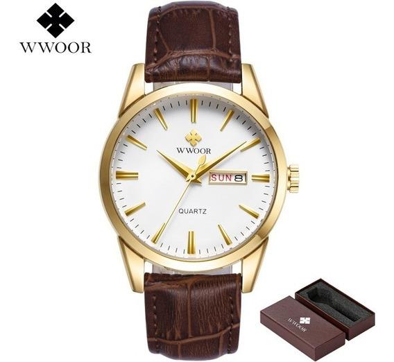Relógio Wwoor Masculino Liga Quartz 8801 Sport Douradomarrom