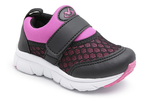 Tênis Infantil Feminino Com Velcro - Via Vip Vv1059
