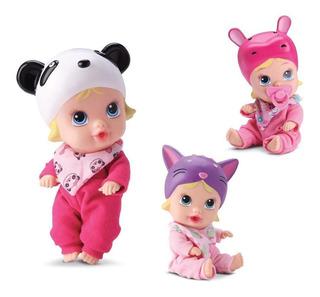 Kit 3 Bonecas Little Dolls Soninho Gatinha+ Hipopótamo + Pa