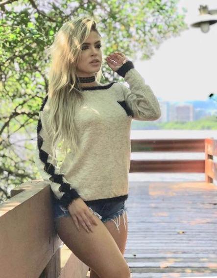 Blusa Suéter Agasalho Em Tricot E Detalhes Em Pelinhos