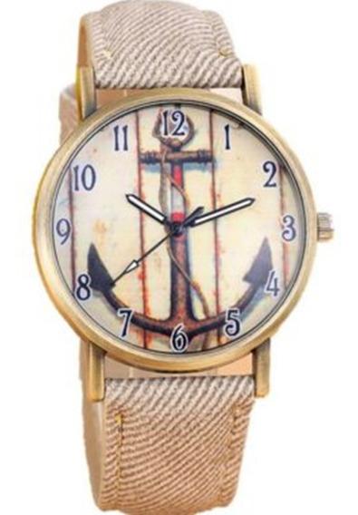 Relógio De Ancora Marrom Feminino De Couro Fashion Madeira