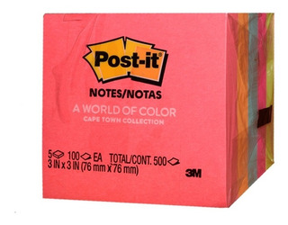 Post It 3in X 3in Colores Neon 500 Hojas
